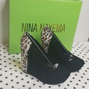 Nina Nayema Wedge Platform Suede Leopard Pr